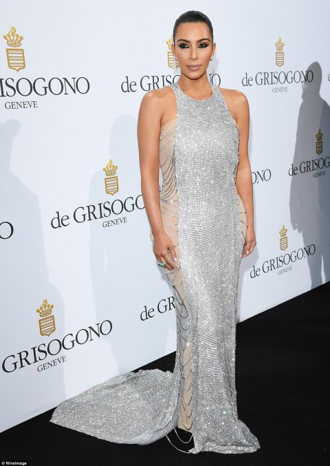 Kim Kardashian Glitters at Cannes Party